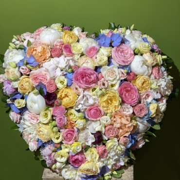 Cuore colorato Rose Ortensie